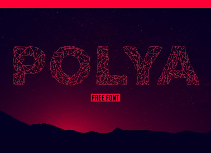 Polya low-poly 3D font