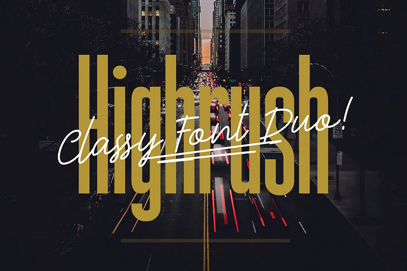 Highrush narrow and condensed font
