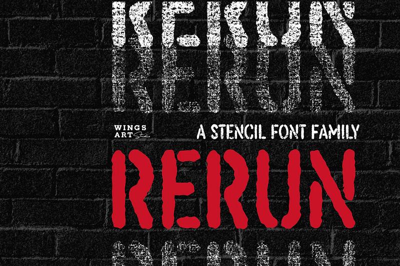 ReRun Stencil Font