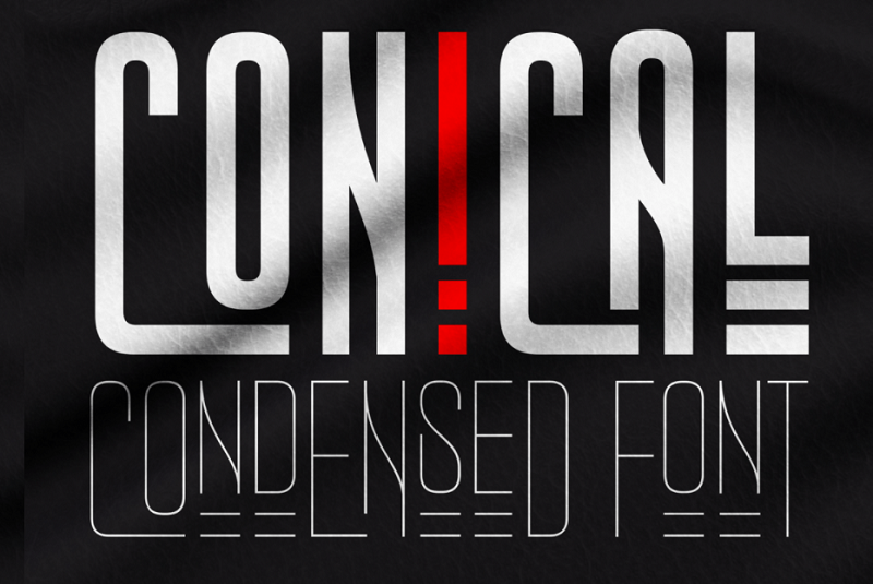 Conical narrow and condensed font