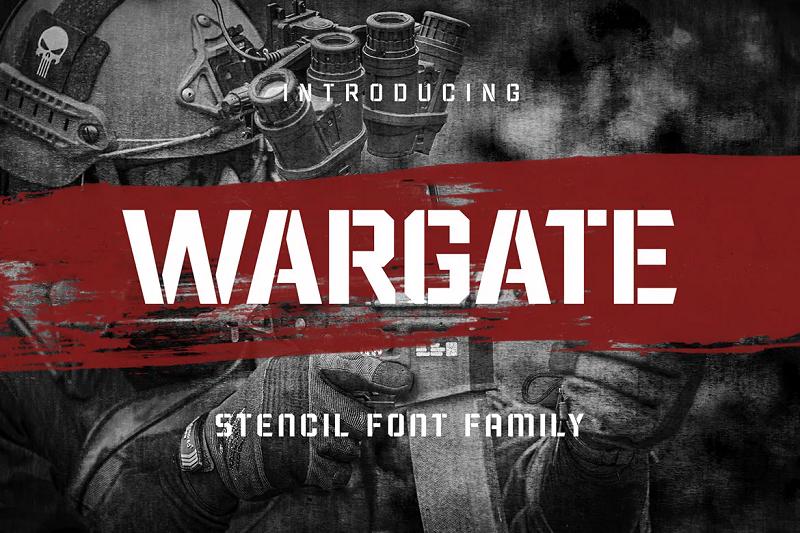 Wargate stencil font
