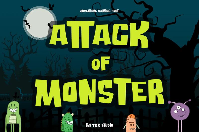 Attack of Monster horror gaming font