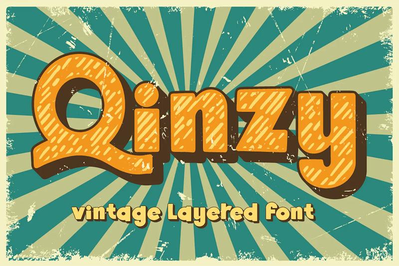 Quinzy 3D layered font