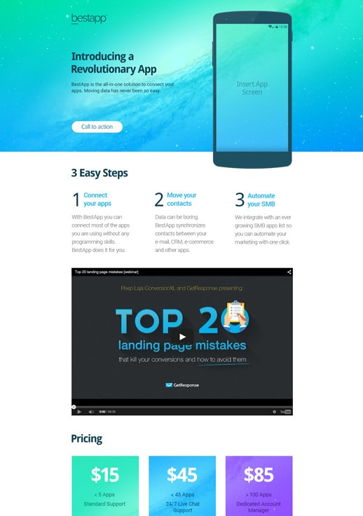 Landing page built with GetResponse