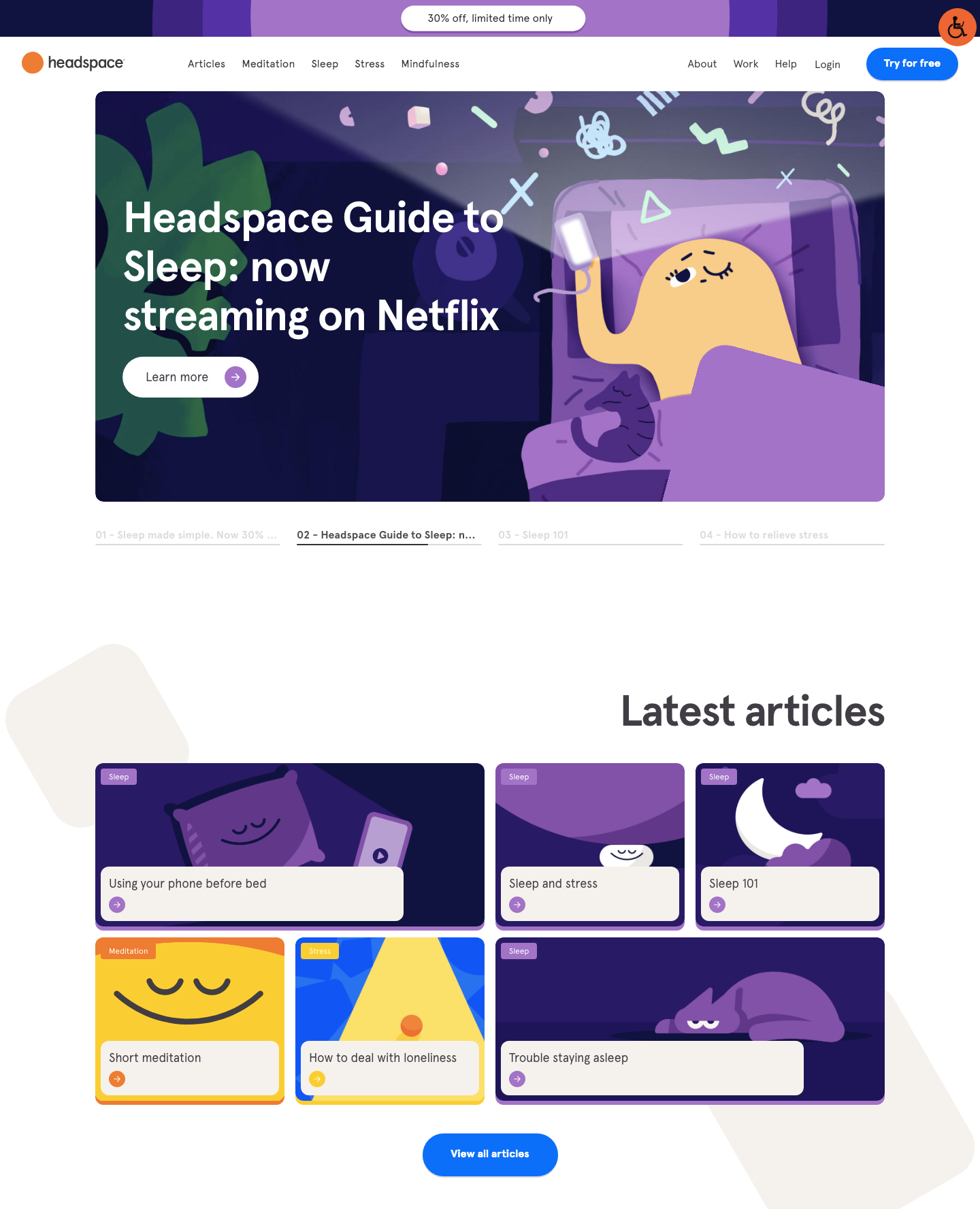 Headspace landing page