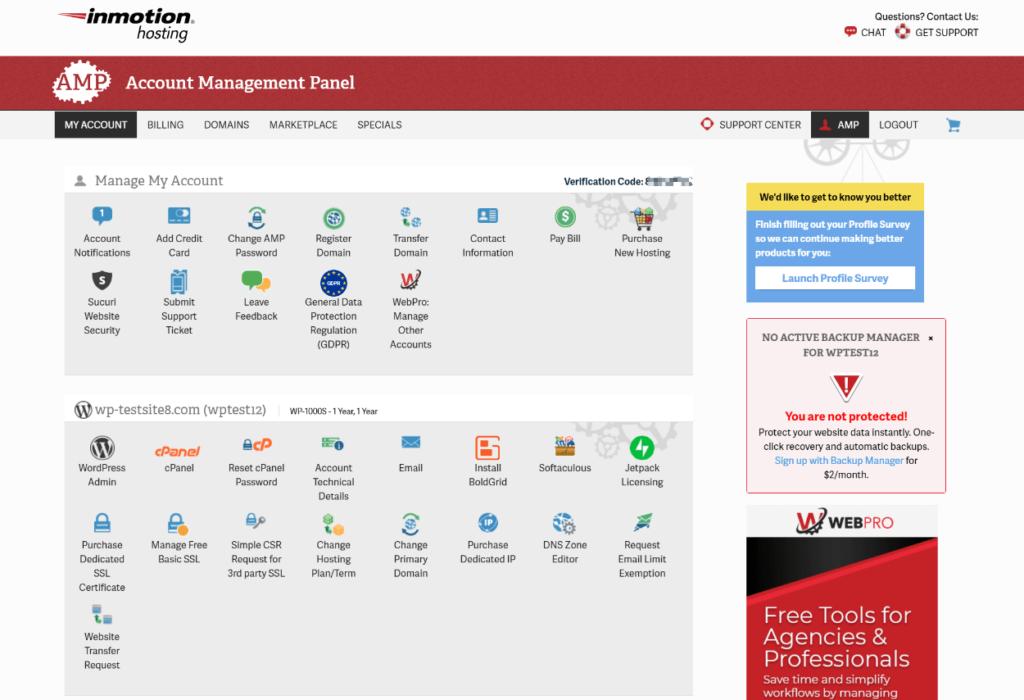 InMotion Hosting Account Management Panel (AMP)