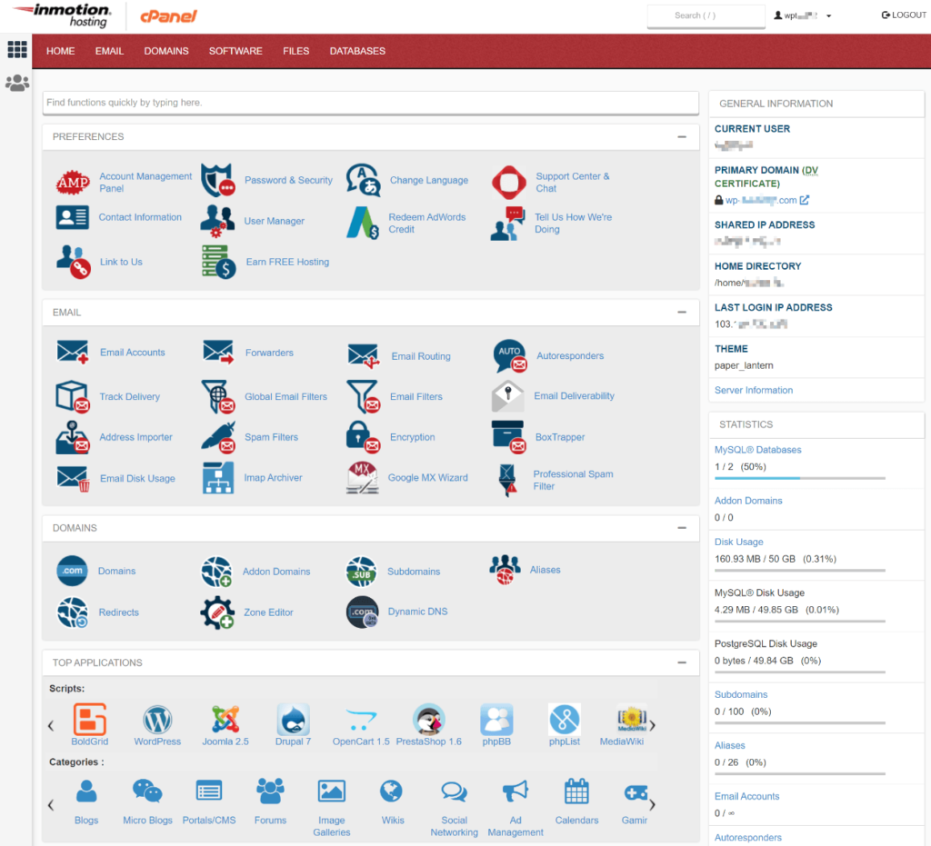 InMotion Hosting cPanel access