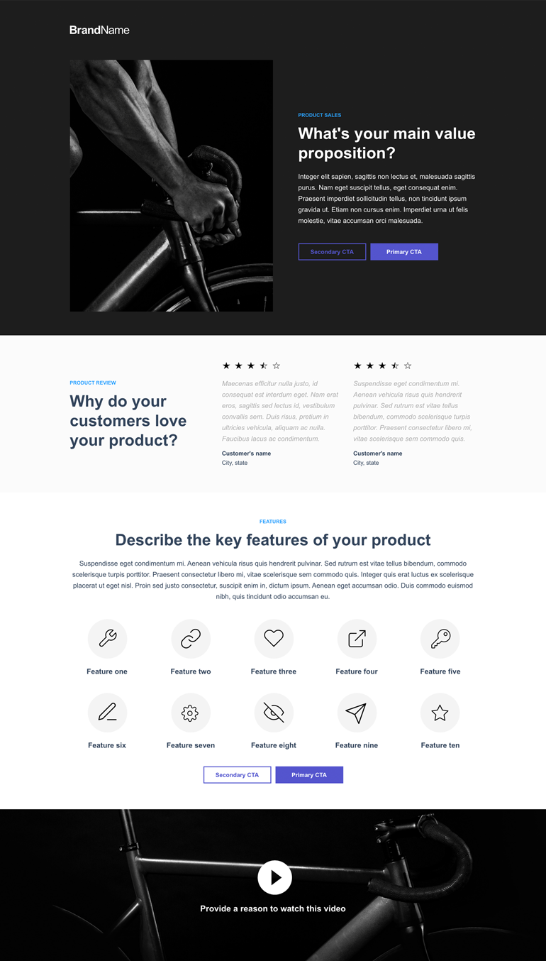 Landing page built with Instapage