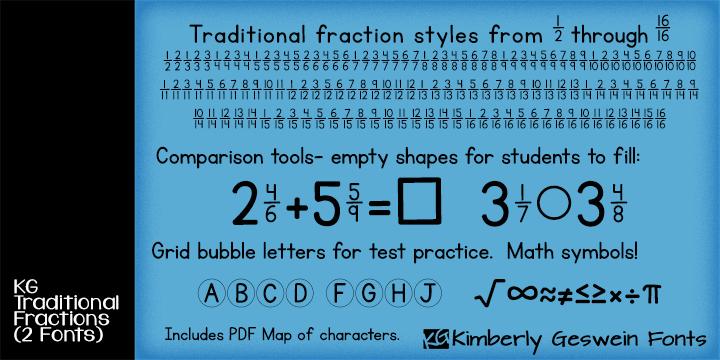 KG Traditional Fractions Font
