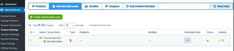 MemberMouse membership levels