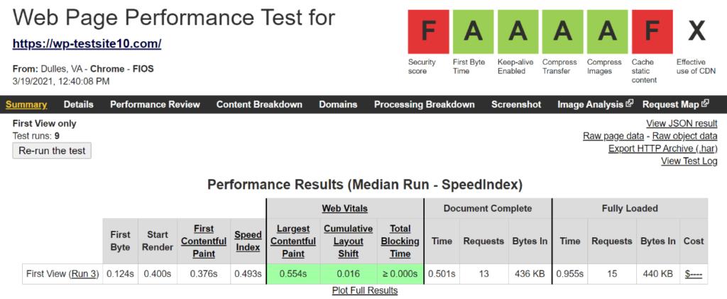 Nexcess WebPageTest results