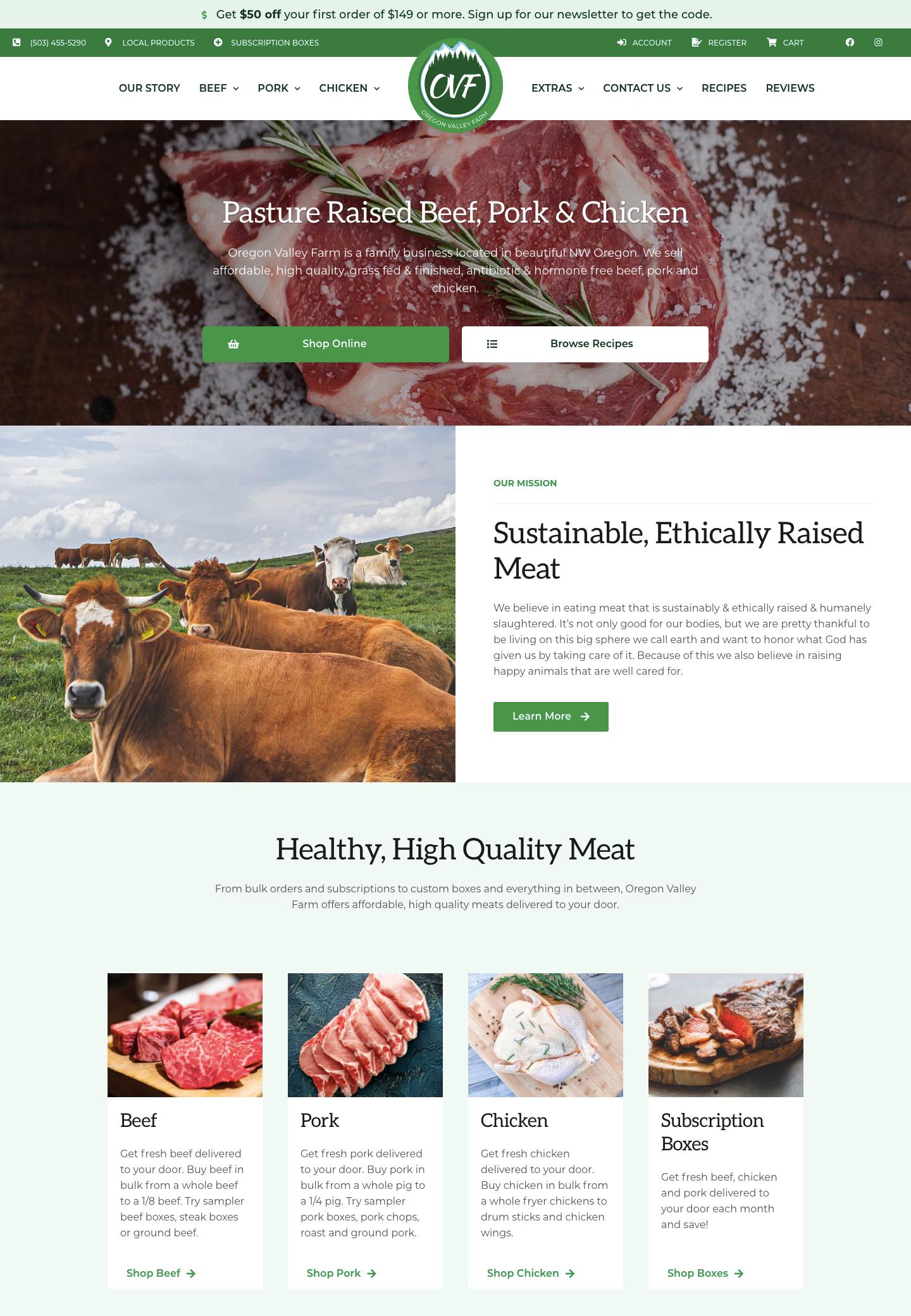 Oregon Valley Farm landing page