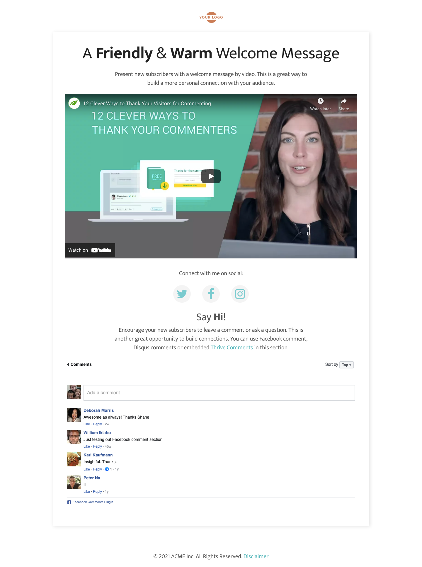 Landing page built with Thrive Architect