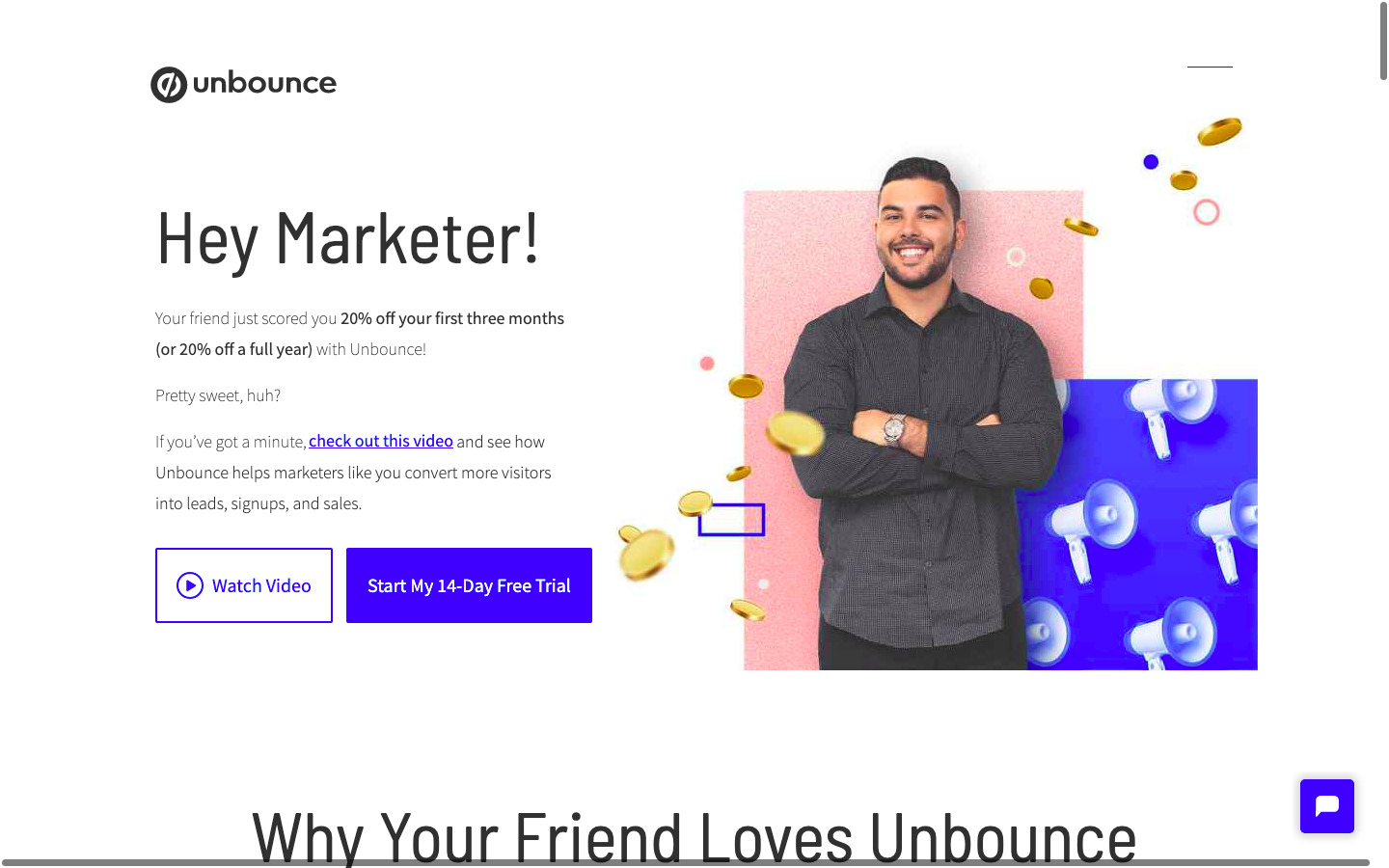 Unbounce coupon landing page