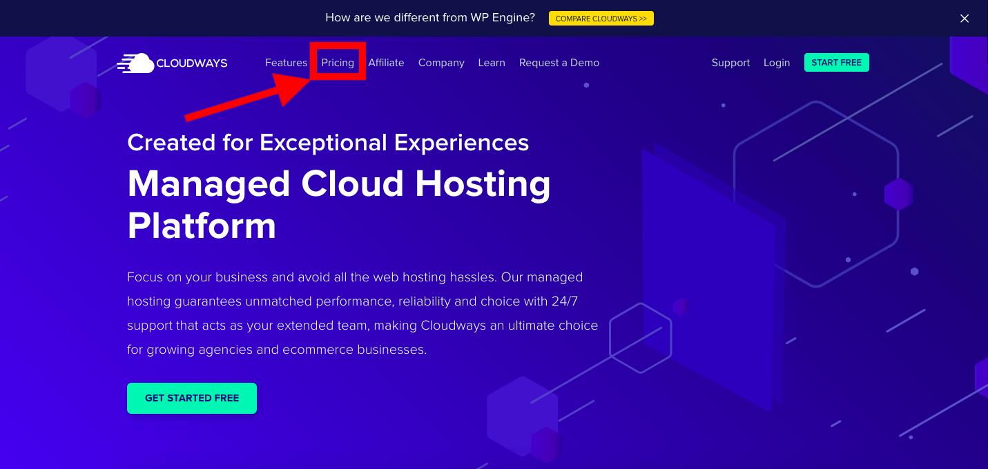 Cloudways homepage