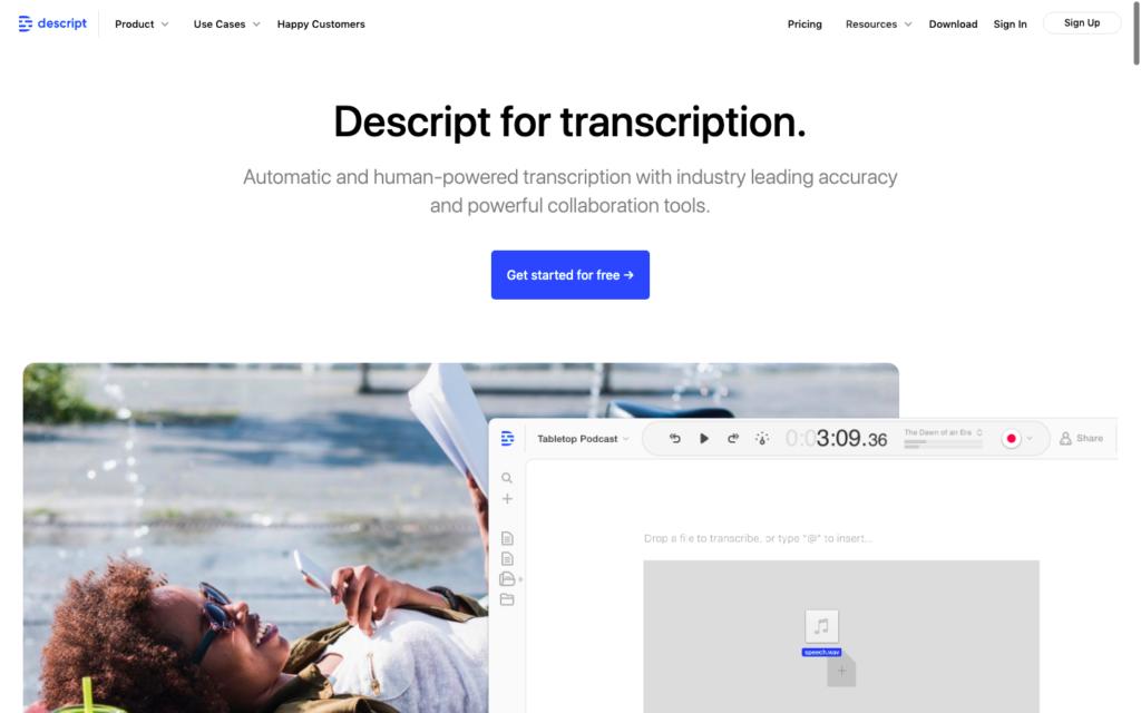 Descript transcription software