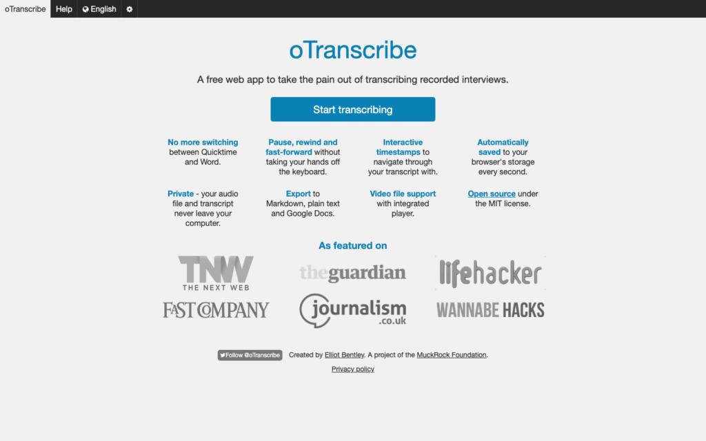 oTranscribe transcription software